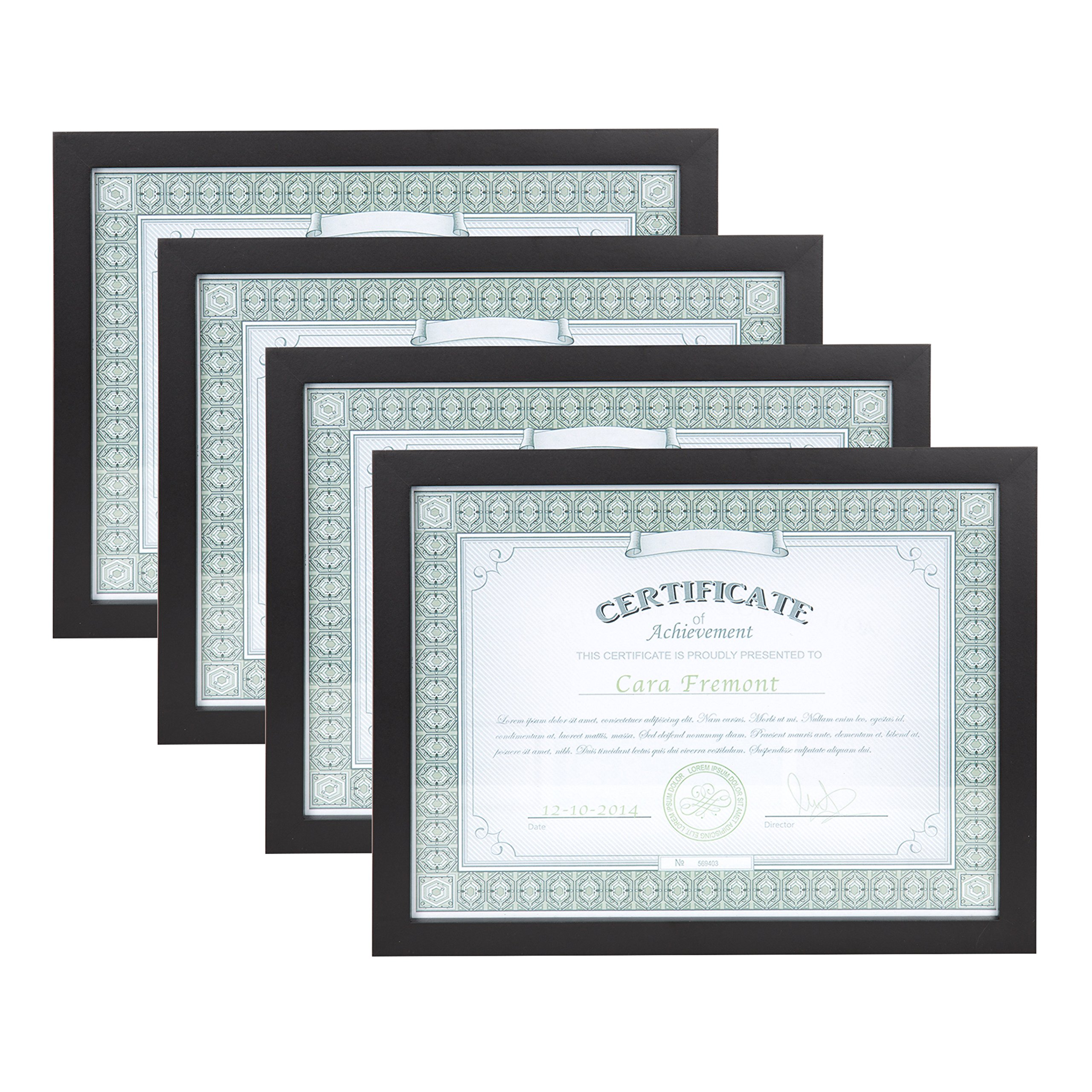 DesignOvation Gallery 8.5x11 Black Wood Document Picture Frame, Set of 4 by DesignOvation