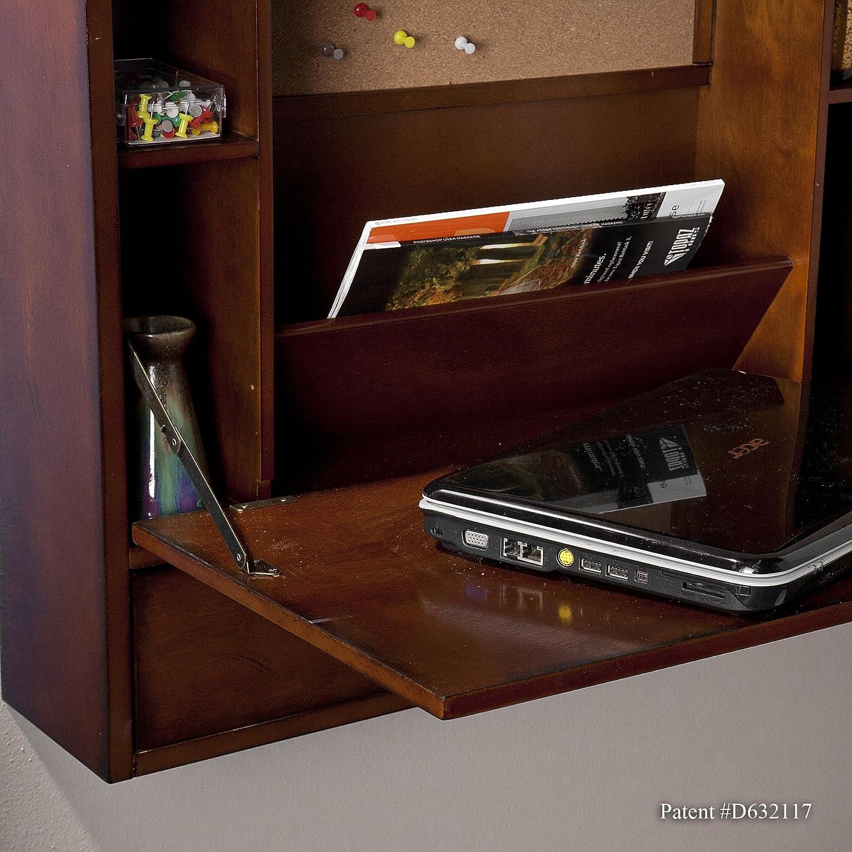 amazoncom southern enterprises wall mount folding laptop desk brown mahogany finish kitchen u0026 dining