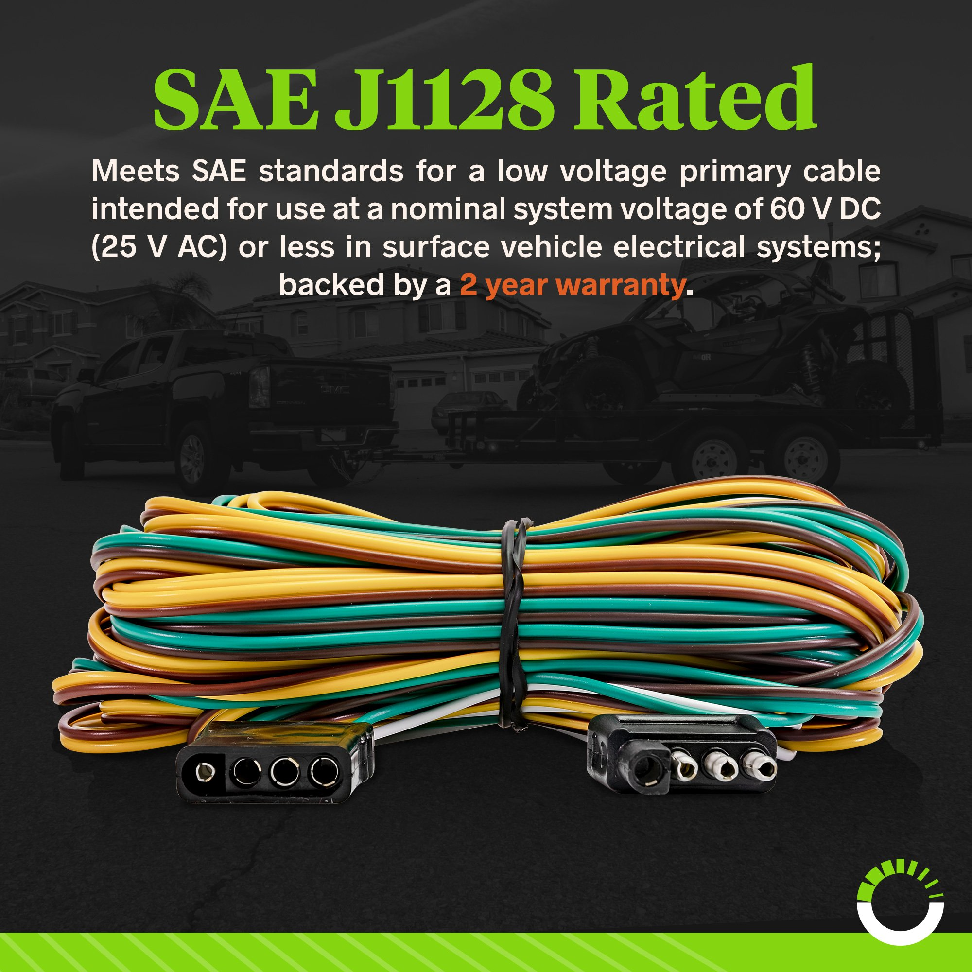 online led store 4-way flat wishbone-style trailer wiring harness kit [25'  male & 4' female] [18 awg color coded wires] [sae j1128 rated] with 4 flat