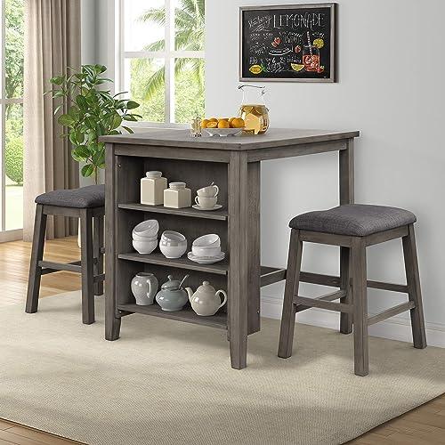 Editors' Choice: P PURLOVE 3 Piece Pub Set Wooden Counter Height Table Set