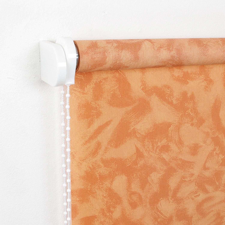 Kettenzugrollo Seitenzugrollo Fenster Rollo gemustert Dekor Orange Terrakotta Breite 60 bis 200 cm Länge 180 cm Sonnenschutz Sichtschutz Blendschutz Stoff Tür Vorhang mit Motiv (180 x 180 cm)