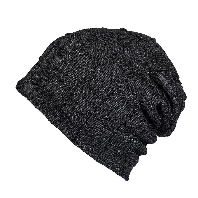 7887b225d5529 Winter Knit Wool Warm Hat Thick Soft Stretch Slouchy Beanie Cap (Black)