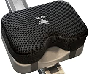 Rowing Machine Seat Cushion (Model 2) That Perfectly fits Concept 2 with Thicker Memory Foam, Washable Cover, and Straps- Also Works Great with Exercise Recumbent Stationary Bike