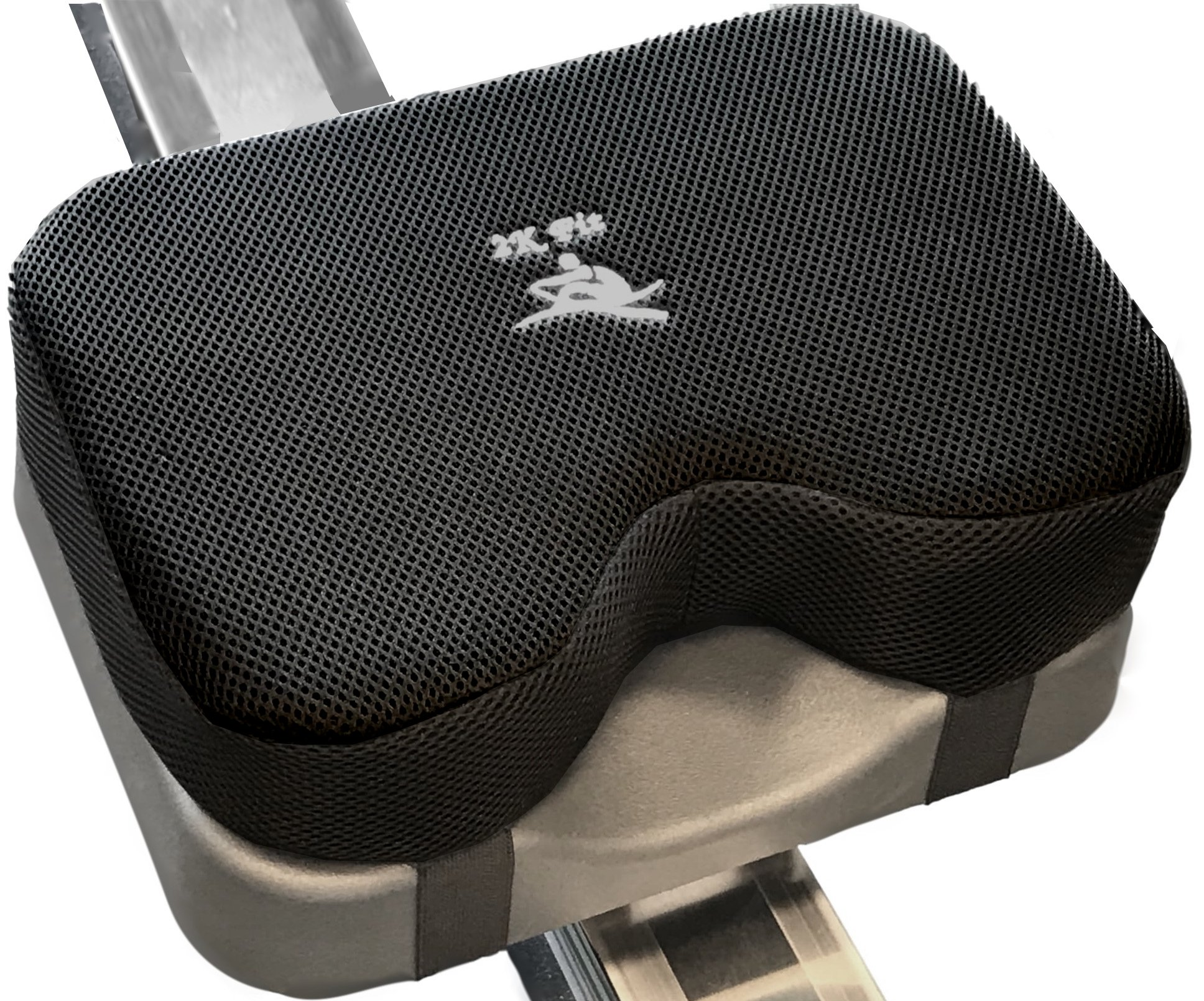 Rowing Machine Seat Cushion (Model 2) That Perfectly fits Concept 2 with Thicker Memory Foam, Washable Cover, and Straps- Also Works Great with Exercise Recumbent Stationary Bike by 2K Fit