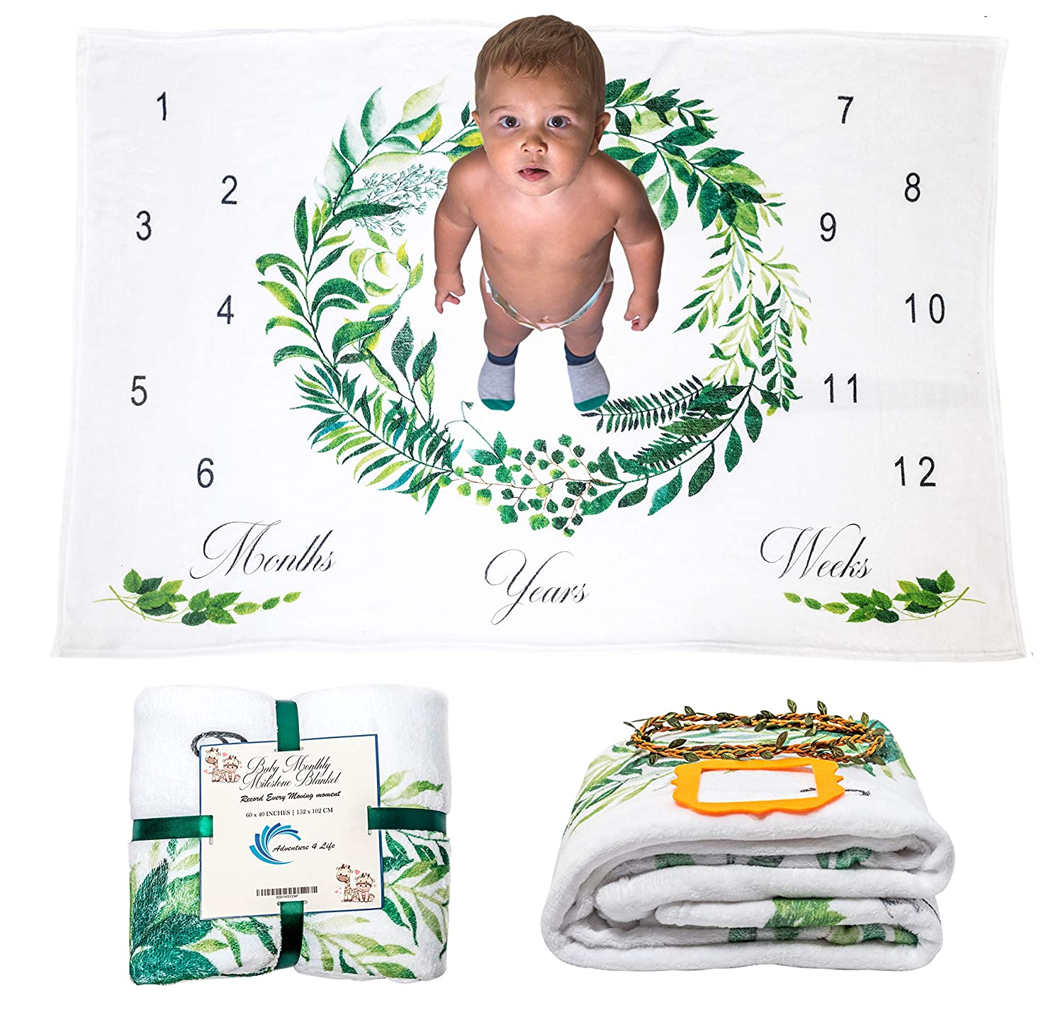 Baby Monthly Milestone Blanket for Boys and Girls with Two Frames Track /& Document Baby Growth Newborn Photography Background Prop Blanket Large 60x40