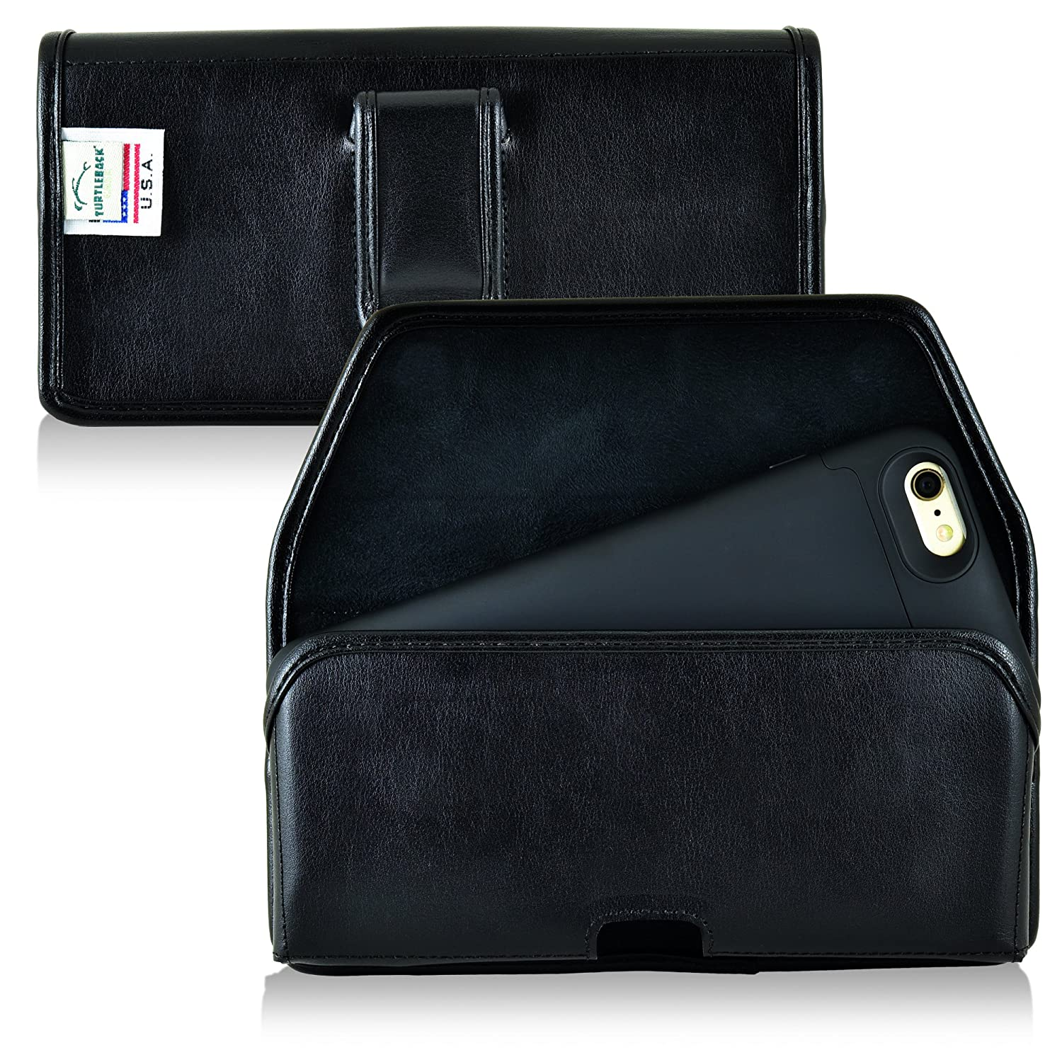 buy popular fbd89 08678 Mophie Juice Pack iPhone 6S+ Plus Holster Turtleback Juice Pack Air Space  iPhone 6S+ Plus Belt Case, Black Leather Pouch with Executive Belt Clip, ...