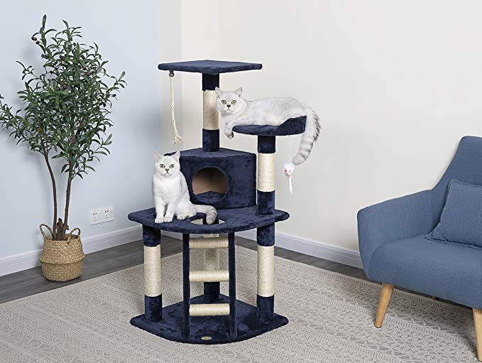 Go Pet Club Cat Tree Condo House 32 Inch W By 25 Inch L By 47 1 2 Inch H Blue Cat Houses And Condos Pet Supplies Amazon Com