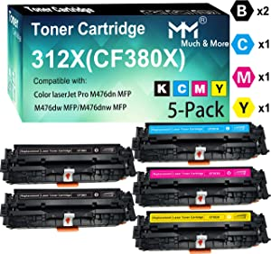 5-Pack (2 x BK+C+M+Y) Compatible CF380X CF381A CF382A CF383A Toner Cartridge 312X Work with HP Color Laserjet Pro MFP M476dn M476dw M476dnw Printer, Sold by MuchMore