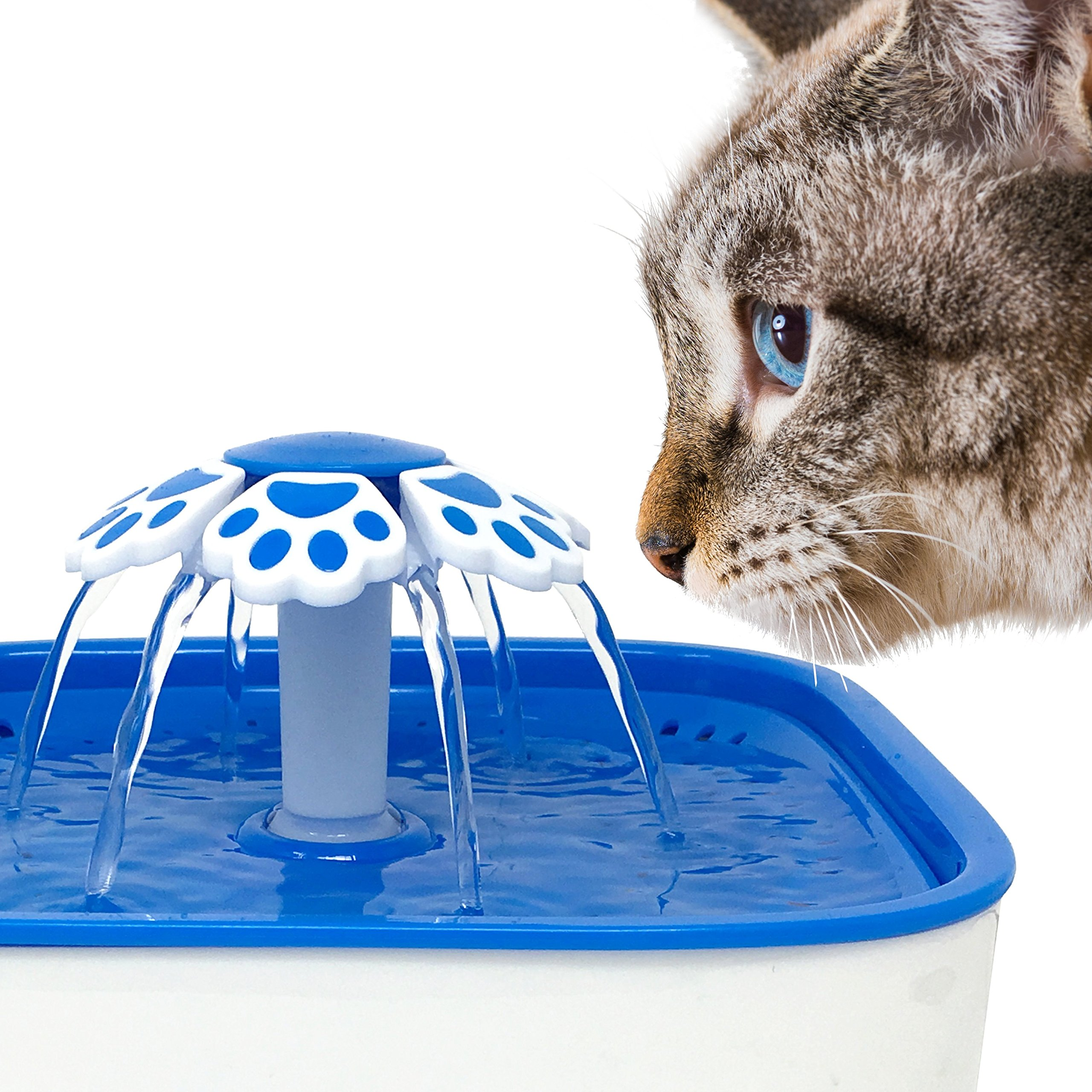Pet Fit For Life Water Fountain Dispenser Plus Bonus Cat Wand and Mat - 2 Liter Super Quiet Automatic Water Bowl with Charcoal Filter for Dogs, Cats, Birds and Small Animals by Pet Fit For Life (Image #7)