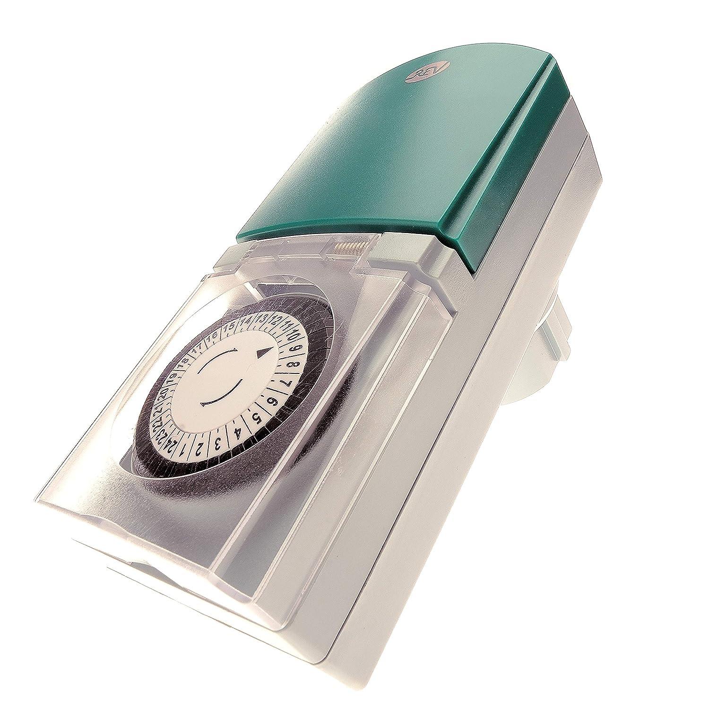 REV Ritter 0025700409 Prise à horloge mécanique Tag IP44 Gris/vert