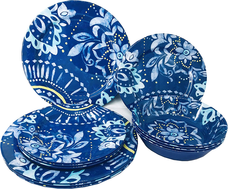 Set Of 12 Dinnerware Set (Mix Color Flower Pattern)