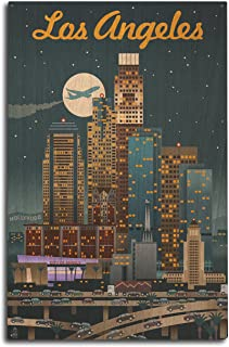 product image for Lantern Press Los Angeles, California - Retro Skyline (10x15 Wood Wall Sign, Wall Decor Ready to Hang)