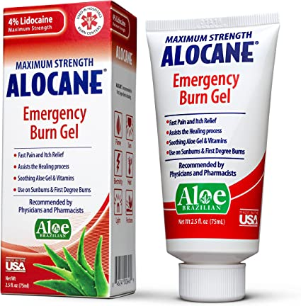 Amazon Com Alocane Emergency Burn Gel 4 Lidocaine Maximum Strength Fast Pain And Itch Relief For Minor Burns Sunburn Kitchen Radiation Chemical First Degree Burns First Aid Treatment Burn Care 2 5 Fl Oz