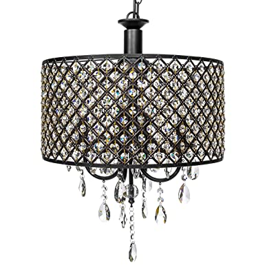 Best Choice Products 4-Light Modern Contemporary Crystal Round Pendant Chandelier w Classic Antique Finish – Black