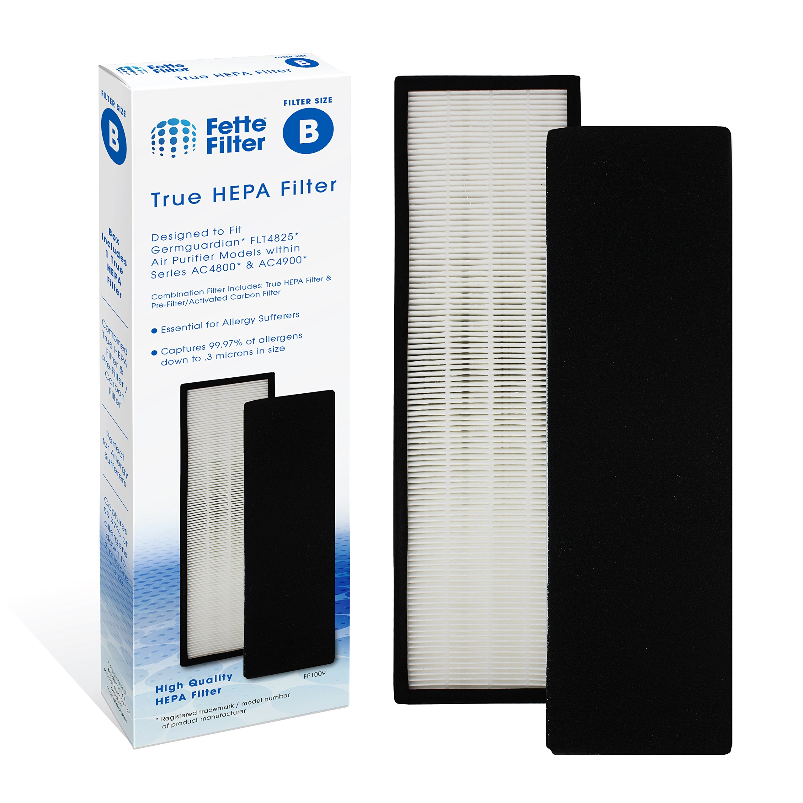 Fette Filter True HEPA Filter Compatible GermGuardian FLT4825 Models AC4300/AC4800/4900 Series Air Purifiers (Filter B)