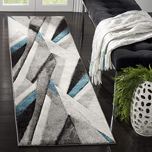 Safavieh Hollywood Collection HLW710D Grey and Teal Mid-Century Modern Abstract Runner 2 2 x 8