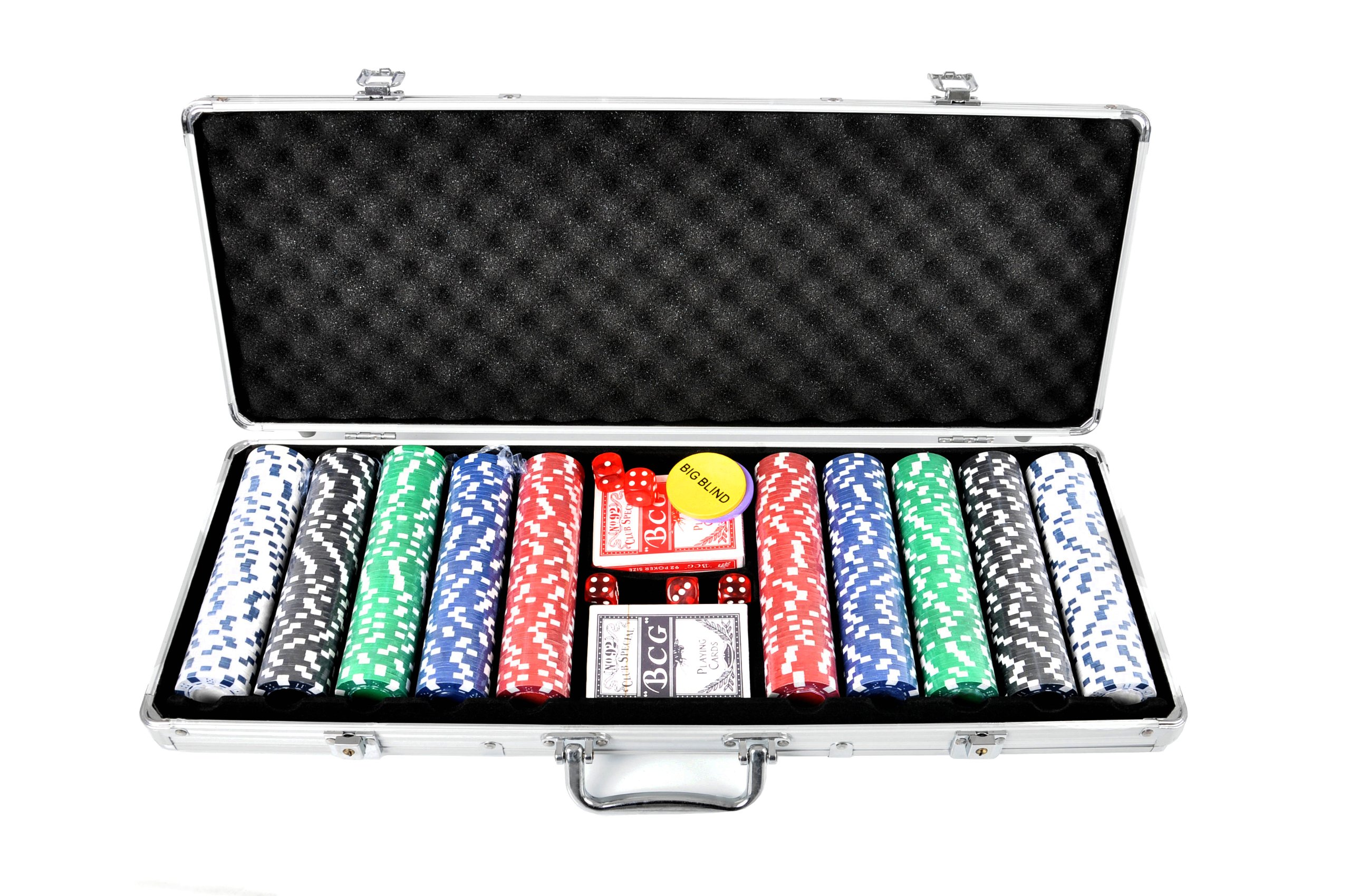 FA Sports 910 Casino Ocean 500-Piece Poker Chip Set, Silver, 58 x 24 x 7.5 cm by FA Sports by FA Sports