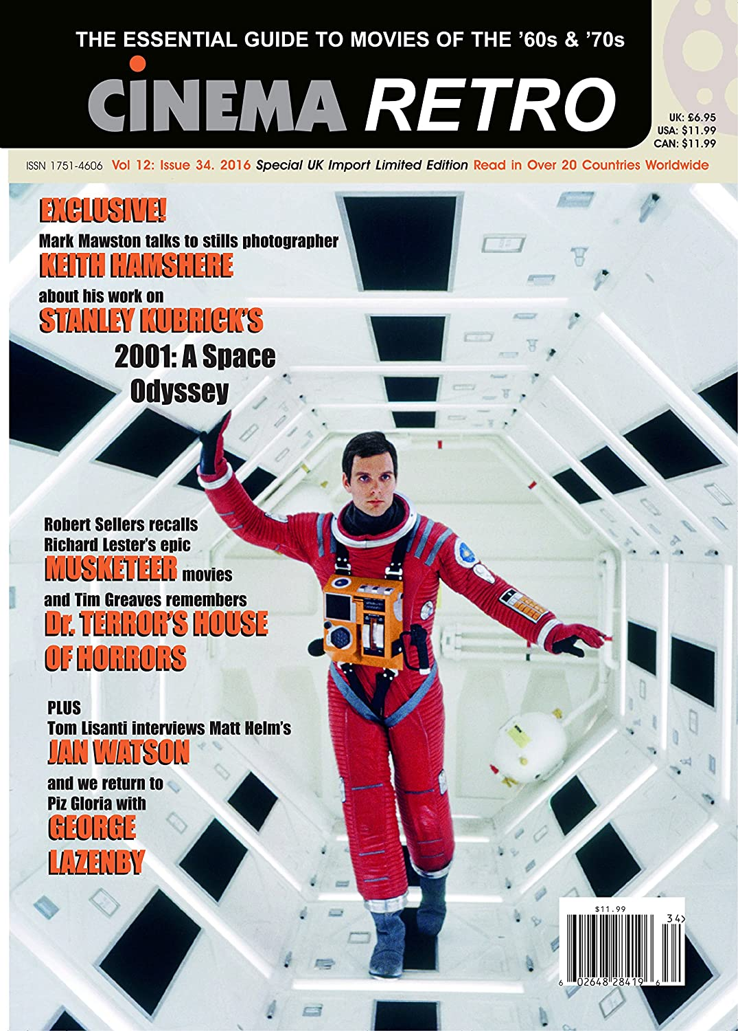 Cinema Retro Issue #34 Kubrick's 2001: A Space Odyssey James Bond Three Musketeers Dr. Terror's House of Horrors Dean Martin