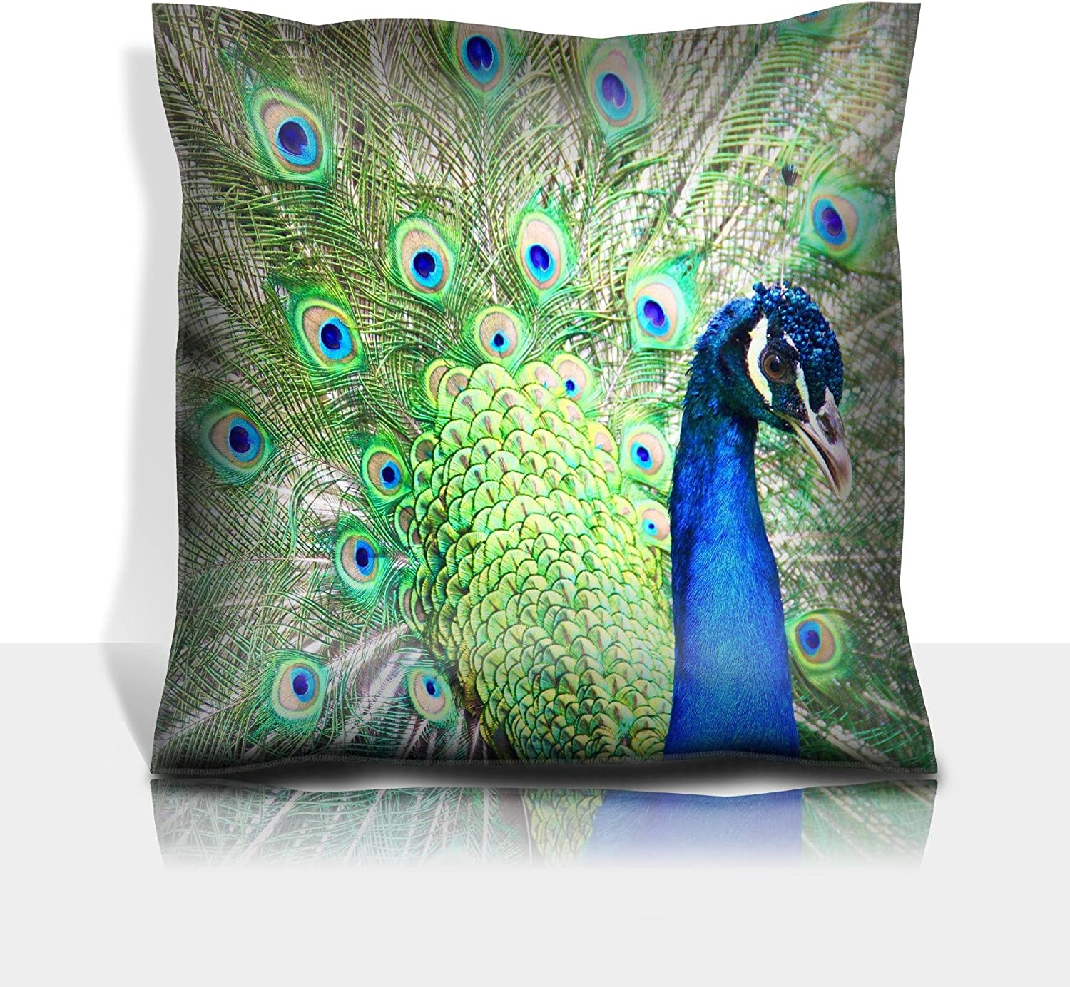 Luxlady Throw Pillowcase Polyester Satin Comfortable Decorative Soft Pillow Covers Protector Sofa 16x16, 1 Pack Image ID: 20313378 pecock