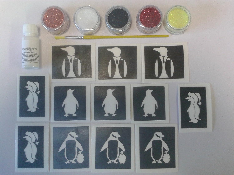 Dazzle Glitter Tattoos pingüino temático Conjunto Brillo Tatuaje ...