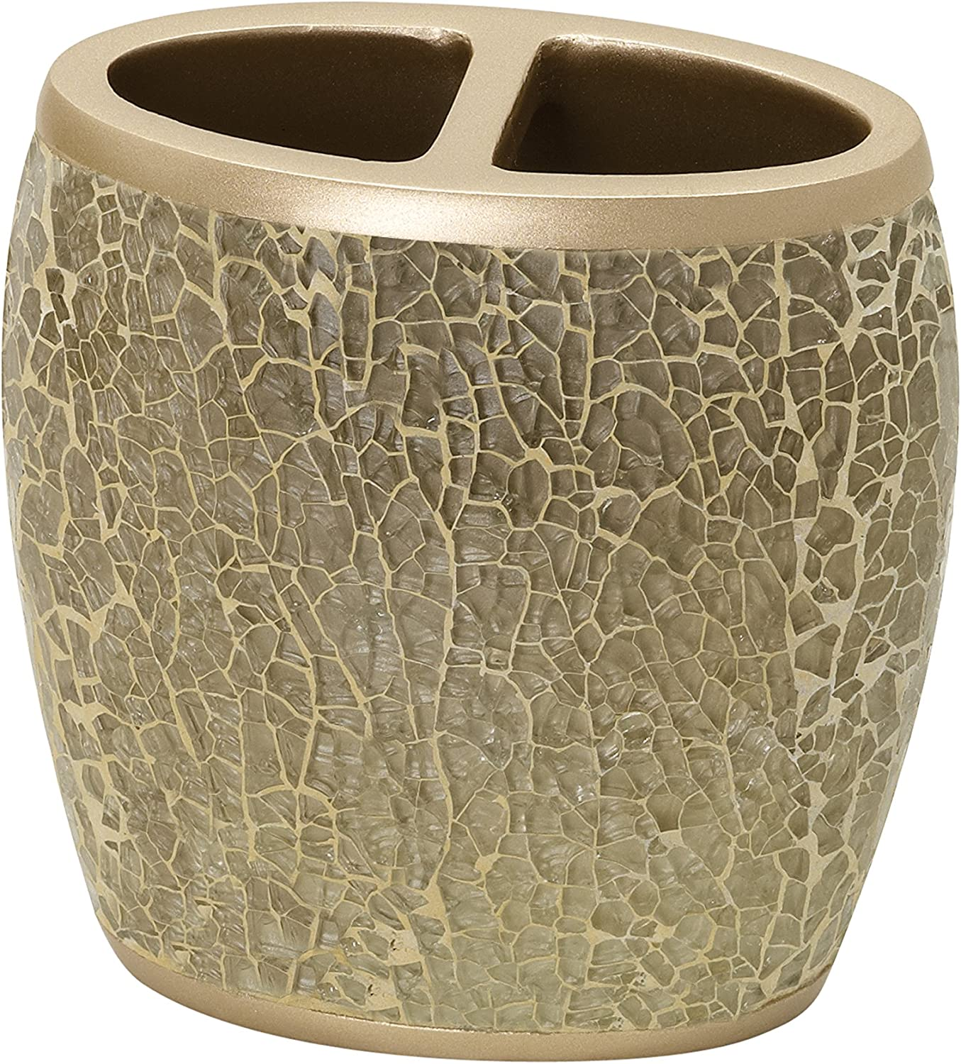 Zenna Home India Ink Huntington Toothbrush Holder, Gold Cracked Glass