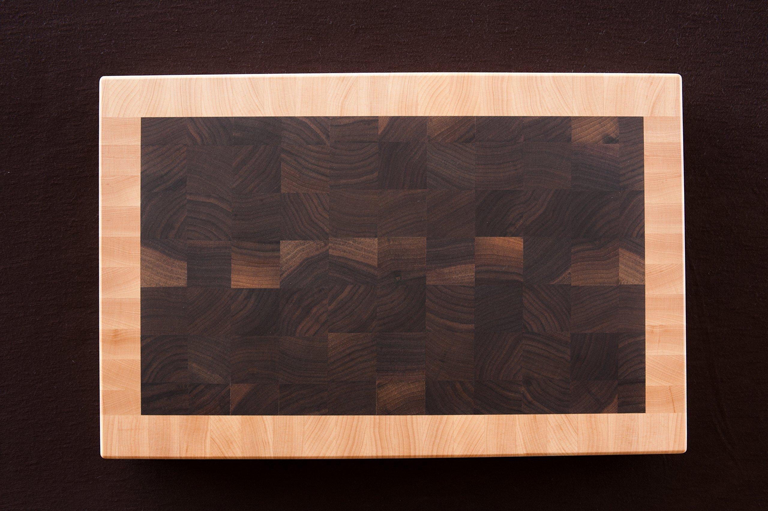 Chopping Blox Walnut and Maple End Grain Handmade Wood Cutting Board Large - (SIXM-W)