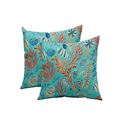 "RSH DECOR Set of 2 in Outdoor 17"" Square Decorative Throw Pillows ~ Blue, Peach, White, Cream, Orange, Coral, Red ~ Ocean Life ~ Coastal ~ Coral Reef: Kitchen & Dining"