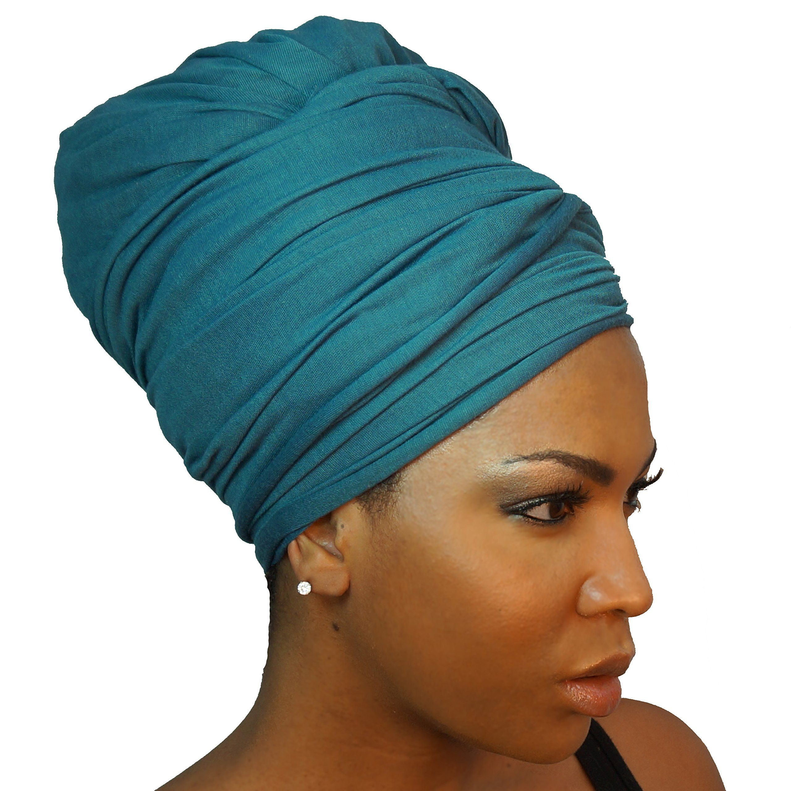 Headwrap in Stretch Jersey Knit - Long Head wrap Scarf - Teal