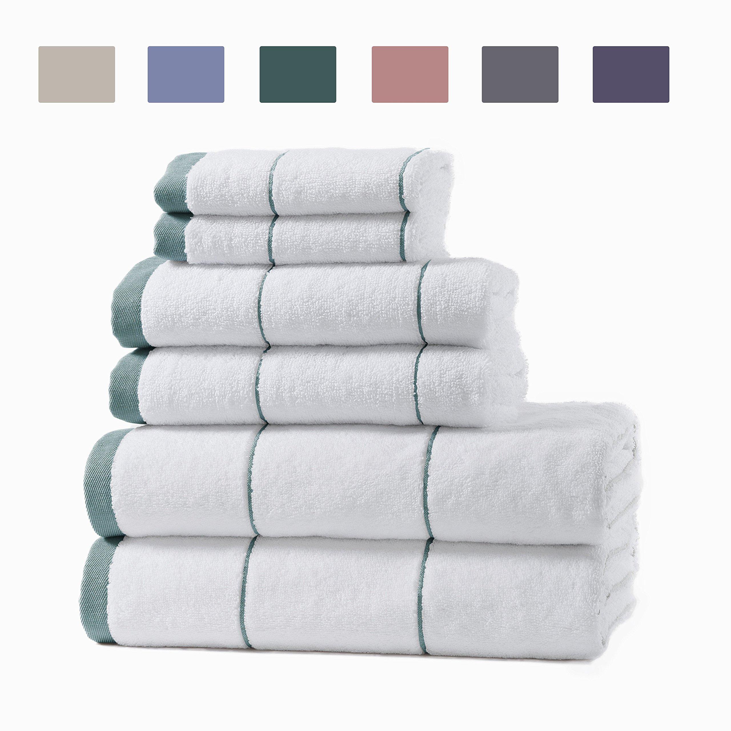 Home Fashion Designs 100% Turkish Cotton Spa Bath Towel Set. Includes Bath Towels, Hand Towels and Washcloths. Roka by (Jade Green)