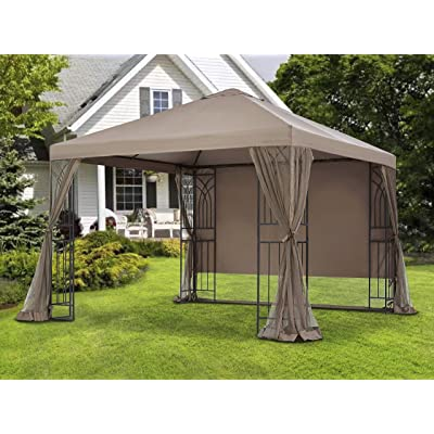 APEX GARDEN 10 ft. x 10 ft. Symphony II Single-Tier Gazebo with Mosquito Net, Privacy Screen and Planter Holders (10 ft. x 10 ft. (Single-Tier)) : Garden & Outdoor