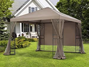 APEX GARDEN 10 ft. x 10 ft. Symphony II Single-Tier Gazebo with Mosquito Net, Privacy Screen and Planter Holders (10 ft. x 10 ft. (Single-Tier))