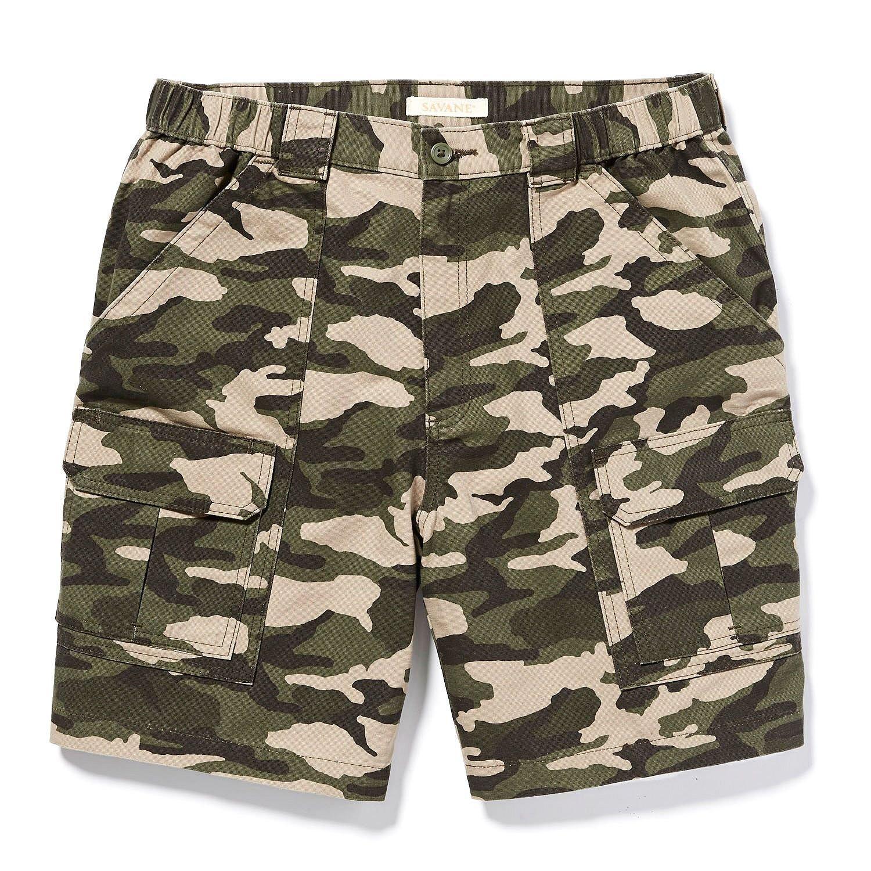 Savane Men's Comfort Hiking Cargo Shorts (40, Ivy Green)