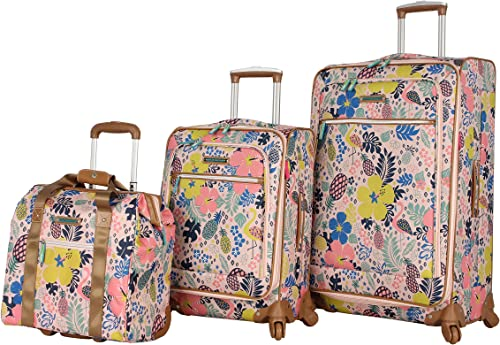 Lily Bloom Luggage 3 Piece Softside Spinner Suitcase Set Collection Cabin Pink