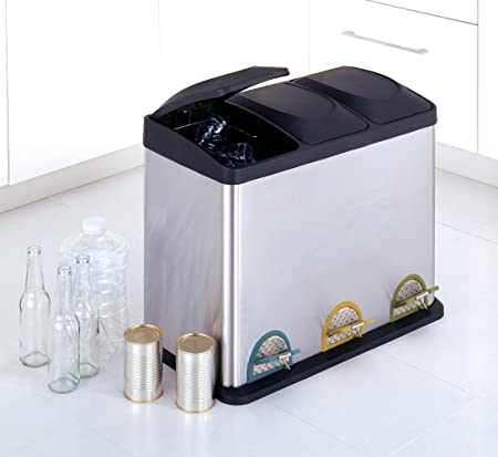 Amazon.com: Organize It All Stainless Steel Step On 12 Gallon Recycle Bin:  Home U0026 Kitchen
