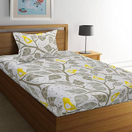 8c07eb91635 Ahmedabad Cotton Comfort 160 TC Cotton Single Bedsheet with Pillow Cover -  Grey and Yellow  Amazon.in  Home   Kitchen