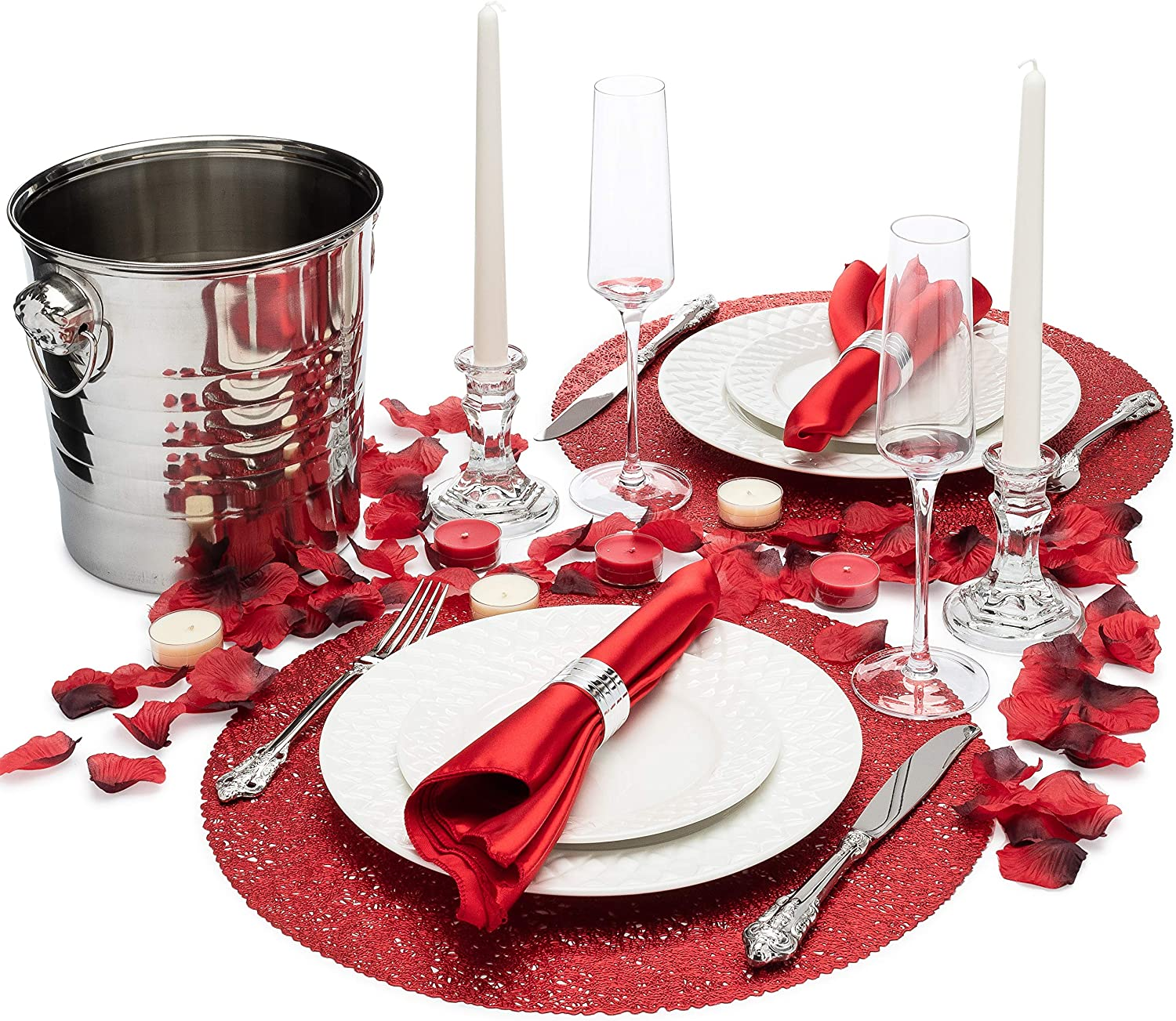 Amazon Com Romantic Dinner Set For Two Romantic Decorations Special Night Romantic Candles Rose Petals And Plates Home Kitchen