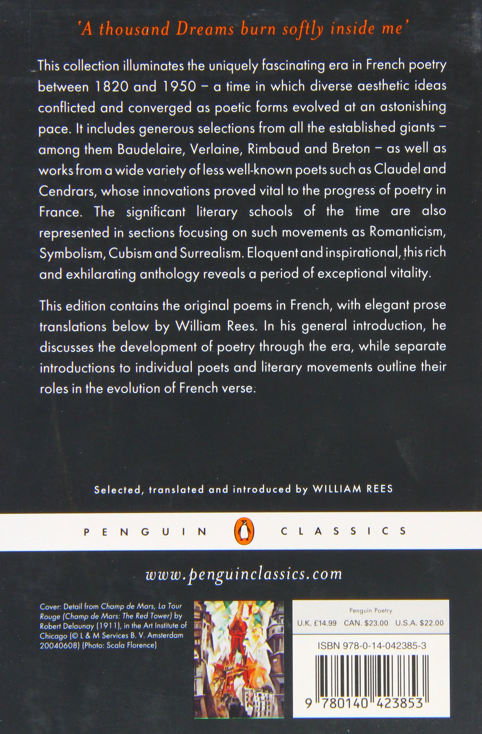 The Penguin Book Of French Poetry: 18201950; With Prose Translations  (penguin Classics): Various, William Rees: 9780140423853: Amazon: Books
