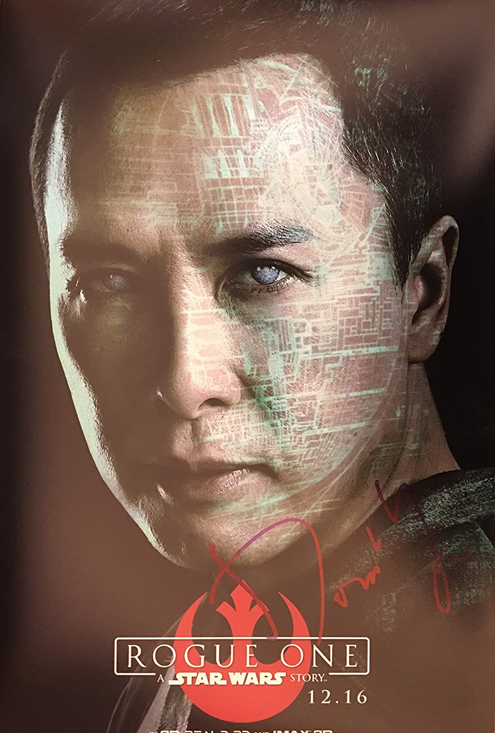 Donnie Yen unterzeichnet 35,6 x 25,4 cm Foto – Rogue One – IP-Mann – 100% Echtheit garantiert – in Person Dealer, UACC Registriert # 242