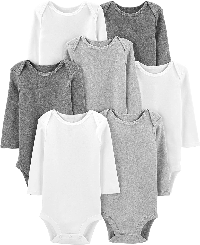 Simple Joys by Carter's 7-Pack Long-Sleeve Bodysuit Undershirts, White/Light Medium Heather Grey, 0-3 Meses