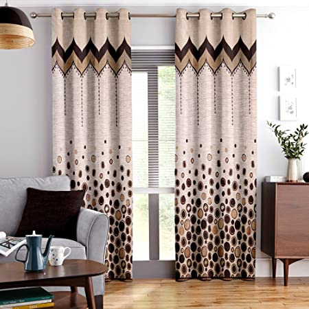 Story@Home Berry Blackout 1 Piece Jacquard Door Curtains for Living Room and Bed Room Contemporary Pattern - 7 Feet Long - Brown Curtains at amazon