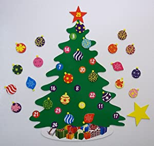 "15.75""- 26 Piece Magnetic Christmas Tree Advent Calendar"