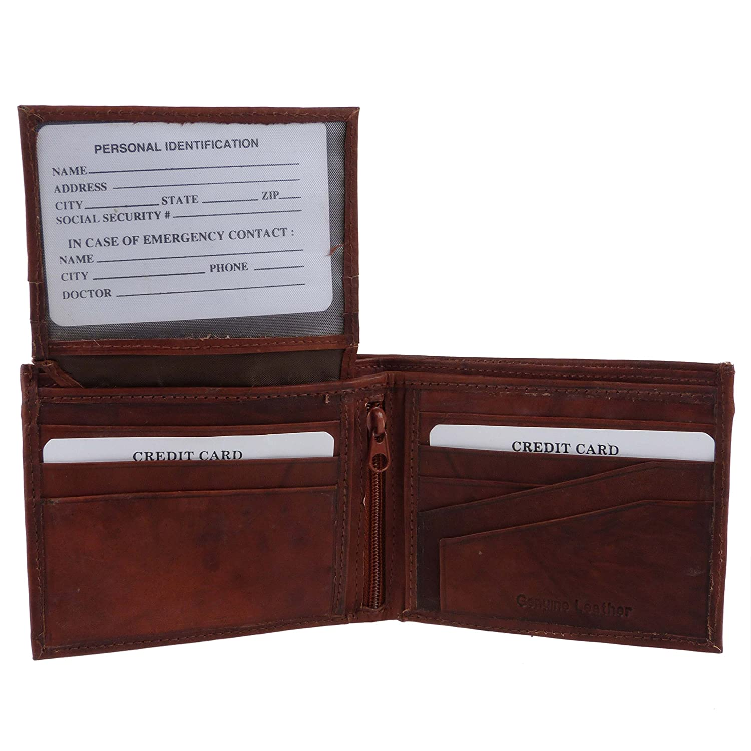 Oakridge Mens Soft Bi-Fold Leather Wallet By Gift Flip Out Section Card Slots
