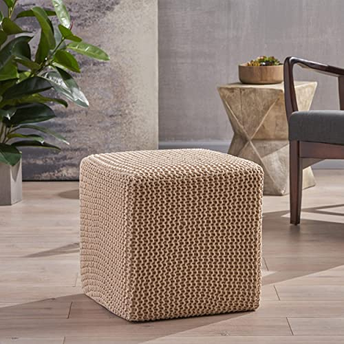 Christopher Knight Home Scott Knitted Foot Stool, Beige