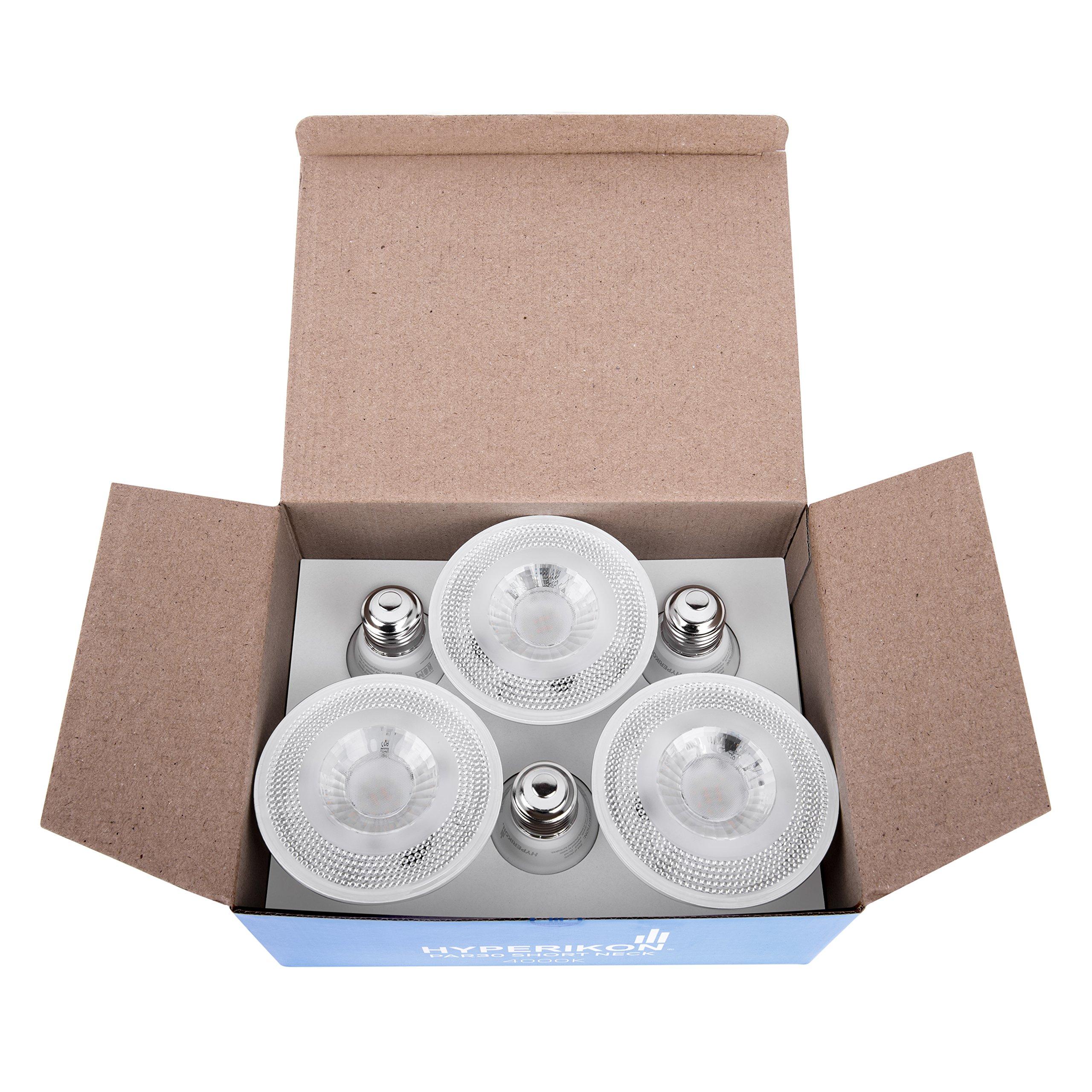 Hyperikon PAR30 Short Neck LED Bulb, Dimmable, 10W (65W Equivalent), 4000K (Daylight Glow) 840 lm, CRI 90+, Flood Bulb, Medium Base (E26), UL & Energy Star - Great for Work Areas, Kitchen (6 Pack) by Hyperikon (Image #2)