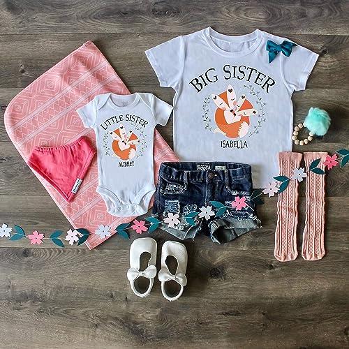 d521fefba Fox Big Sister Shirt Fox Little Sister ONESIE® Big Sister Shirt Little Sister  Bodysuit Personalized Set Custom Outfit Newborn Gift Photo Prop Named Outfit