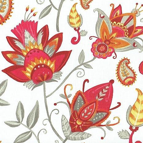 Tessuto Fiori Esotici Sfondo Bianco Con Rosso Rosa Grigio Talpa
