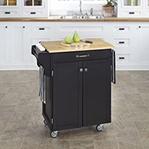 Create-a-Cart Black 2 Door Kitchen Cart with Natural Wood Top by Home Styles