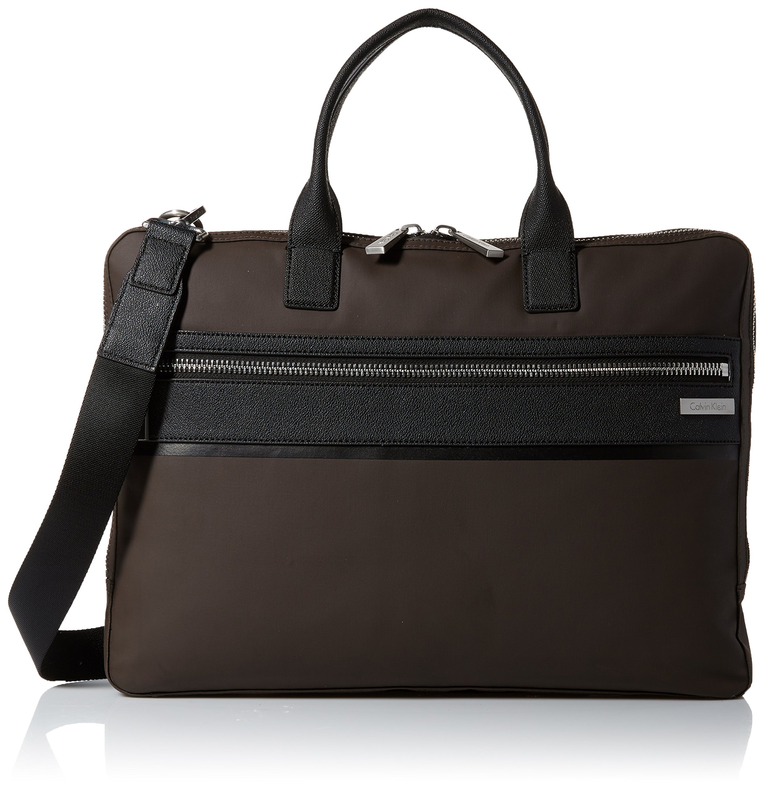 Calvin Klein Men's Nylon with Saffiano Trim Slim Attache, Dark Chocolate Brown
