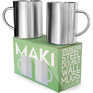 Stainless Steel Double Wall Mugs - Perfect for Coffee and Tea - Set of 2, 15oz (450mL) (2, Stainless Steel)