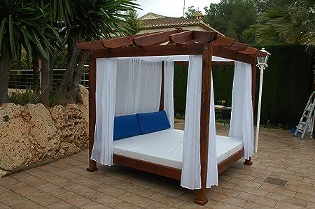 ESTRUCMADER - Cama balinesa con Cama de 2x2m, Techo a 4 Aguas, Color Nogal+Blanco: Amazon.es: Jardín